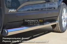 Honda CR-V 2010 пороги труба  d76 с накладками (вариант 2) HNT-0002292